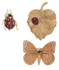 Estate Jewelry:Brooches - Pins, Multi-Stone, Enamel, Gold Ladybug and Butterfly Brooches. ...(Total: 3 Items)