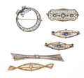 Estate Jewelry:Brooches - Pins, Sapphire, Diamond, Gold Brooch Lot. ... (Total: 6 Items)
