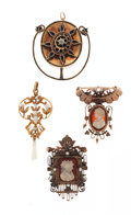 Estate Jewelry:Pendants and Lockets, Multi-Stone, Gold Jewelry Lot. ... (Total: 4 Items)
