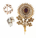 Estate Jewelry:Brooches - Pins, Multi-Stone, Gold Brooch Lot. ... (Total: 3 Items)
