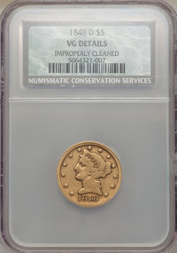 1848-D $5 -- Improperly Cleaned -- NCS. VG Details. NGC Census: (1/109). PCGS Population (1/126). Mintage: 47,400. Numis...