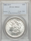 Morgan Dollars: , 1882-O/S $1 MS63 PCGS. PCGS Population (336/241). NGC Census: (535/314). Mintage: 1,039. Numismedia Wsl. Price for problem ...