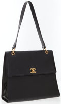 Luxury Accessories:Accessories, Chanel Black Caviar Leather Shoulder Bag with CC Logo . ...