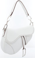 Luxury Accessories:Accessories, Christian Dior White Leather Saddle Bag with Silver Hardware . ...