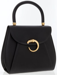 Cartier Black Leather Classic Panthere Top Handle Bag with Gold Hardware