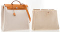 Luxury Accessories:Accessories, Hermes Vache Naturale & Sand Toile Herbag GM Shoulder Bag. ...