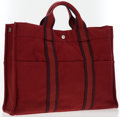 Luxury Accessories:Accessories, Hermes Rouge H & Plum Canvas Fourre Tout MM Tote Bag. ...