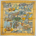 "Luxury Accessories:Accessories, Hermes Yellow & Green ""Automobile,"" by Joachim Metz Silk Scarf...."