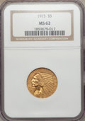 Indian Half Eagles: , 1915 $5 MS62 NGC. NGC Census: (1795/1200). PCGS Population(1342/1338). Mintage: 588,075. Numismedia Wsl. Price for problem...