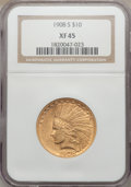 Indian Eagles: , 1908-S $10 XF45 NGC. NGC Census: (69/604). PCGS Population(66/534). Mintage: 59,850. Numismedia Wsl. Price for problem fre...
