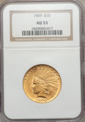 Indian Eagles: , 1909 $10 AU53 NGC. NGC Census: (21/2008). PCGS Population(47/1970). Mintage: 184,700. Numismedia Wsl. Price for problemfr...