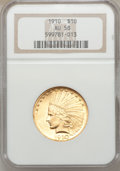 Indian Eagles: , 1910 $10 AU58 NGC. NGC Census: (570/5484). PCGS Population(599/3860). Mintage: 318,500. Numismedia Wsl. Price for problem ...