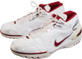 Basketball Collectibles:Others, 2003-04 LeBron James Game Worn, Signed Rookie Shoes....