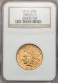 Indian Eagles: , 1912 $10 MS61 NGC. NGC Census: (1730/3902). PCGS Population(748/3324). Mintage: 405,083. Numismedia Wsl. Price for problem...