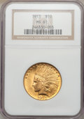 Indian Eagles: , 1913 $10 MS61 NGC. NGC Census: (1715/3118). PCGS Population(653/2887). Mintage: 442,071. Numismedia Wsl. Price for problem...