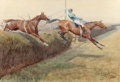Fine Art - Work on Paper:Watercolor, LIONEL D.R. EDWARDS (British, 1878-1966). The Canal Turn,Eremon's Grand National, 1907. Watercolor, gouache and pencil...