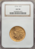 Indian Eagles: , 1914 $10 AU58 NGC. NGC Census: (314/1789). PCGS Population(294/1563). Mintage: 151,050. Numismedia Wsl. Price for problem ...
