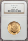 Indian Eagles: , 1914-D $10 AU58 NGC. NGC Census: (547/2015). PCGS Population(503/1728). Mintage: 343,500. Numismedia Wsl. Price for proble...