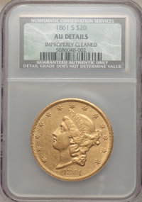 1861-S $20 -- Improperly Cleaned -- NCS. AU Details. NGC Census: (87/376). PCGS Population (83/143). Mintage: 768,000. N...