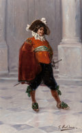 Fine Art - Painting, European:Modern  (1900 1949)  , GIORGIO BALDERO (Italian, Late 19th/Early 20th Century).Cavalier with Drum. Oil on canvas. 24 x 15 inches (61.0 x38.1 ...