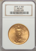 Saint-Gaudens Double Eagles: , 1909-S $20 MS64 NGC. NGC Census: (1346/238). PCGS Population(1792/309). Mintage: 2,774,925. Numismedia Wsl. Price for prob...