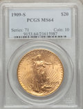 Saint-Gaudens Double Eagles: , 1909-S $20 MS64 PCGS. PCGS Population (1792/309). NGC Census:(1346/238). Mintage: 2,774,925. Numismedia Wsl. Price for pro...