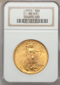 Saint-Gaudens Double Eagles: , 1910 $20 MS63 NGC. NGC Census: (2440/937). PCGS Population(2363/1315). Mintage: 482,000. Numismedia Wsl. Price for problem...