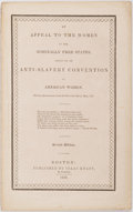 Books:Americana & American History, [Anti-Slavery Convention of American Women]. [Angelina Grimke].An Appeal to the Women of the Nominally Free States....