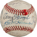 Baseball Collectibles:Balls, 1970's Los Angeles Dodgers Old Timer's Day Multi Signed BaseballWith Casey Stengel. ...