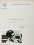 Autographs:Celebrities, Actress and Singer Pearl Bailey Photograph and Typed Letter Signed.Ca. 1976. Photo measures roughly 5.5 x 3.5 inches. T...
