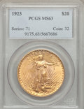 Saint-Gaudens Double Eagles: , 1923 $20 MS63 PCGS. PCGS Population (8793/4095). NGC Census:(10883/2644). Mintage: 566,000. Numismedia Wsl. Price for prob...