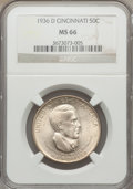 Commemorative Silver: , 1936-D 50C Cincinnati MS66 NGC. NGC Census: (231/28). PCGSPopulation (306/40). Mintage: 5,005. Numismedia Wsl. Price for p...