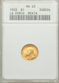 Commemorative Gold: , 1903 G$1 Louisiana Purchase/McKinley MS63 ANACS. NGC Census:(271/1400). PCGS Population (552/1940). Mintage: 17,500. Numis...