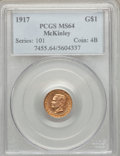 Commemorative Gold: , 1917 G$1 McKinley MS64 PCGS. PCGS Population (788/1021). NGCCensus: (409/534). Mintage: 10,000. Numismedia Wsl. Price for ...