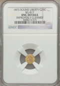 California Fractional Gold, 1873 25C Liberty Round 25 Cents, BG-817, R.3, -- Improperly Cleaned-- NGC Details. Unc. NGC Census: (0/57). PCGS Populatio...