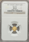 California Fractional Gold: , 1871 25C Liberty Round 25 Cents, BG-812, Low R.5, MS65 NGC. NGCCensus: (3/0). PCGS Population (10/2). ...