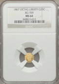 California Fractional Gold: , 1867 25C Liberty Octagonal 25 Cents, BG-709, R.4, MS64 NGC. NGCCensus: (4/13). PCGS Population (23/38). ...