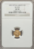 California Fractional Gold: , 1853 $1 Liberty Octagonal 1 Dollar, BG-505, R.4, AU58 NGC. NGCCensus: (6/11). PCGS Population (28/24). ...