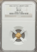 California Fractional Gold: , 1856 25C Liberty Octagonal 25 Cents, BG-111, R.3, MS65 NGC. NGCCensus: (10/2). PCGS Population (9/3). ...