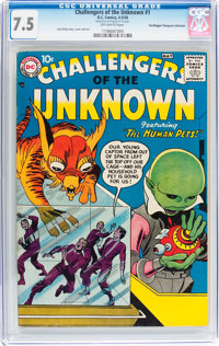 Challengers of the Unknown #1 Don/Maggie Thompson Collection pedigree (DC, 1958) CGC VF- 7.5 Off-white pages