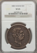 Coins of Hawaii: , 1883 $1 Hawaii Dollar VF25 NGC. NGC Census: (5/357). PCGSPopulation (5/645). Mintage: 500,000. ...