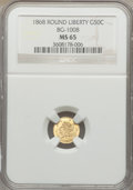 California Fractional Gold: , 1868 50C Liberty Round 50 Cents, BG-1008, R.5, MS65 NGC. NGCCensus: (1/2). PCGS Population (6/0). ...