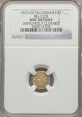 California Fractional Gold, 1873 $1 Indian Octagonal 1 Dollar, BG-1123, High R.4, -- ImproperlyCleaned -- NGC Details. Unc. NGC Census: (0/3). PCGS Po...