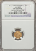 California Fractional Gold: , 1870 $1 Liberty Round 1 Dollar, BG-1202, High R.5, -- Mount Removed-- NGC Details. AU. NGC Census: (0/1). PCGS Population ...