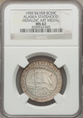 20th Century Tokens and Medals, 1959 Alaska Statehood Medal, Silver, Heraldic Art Co. MS62 NGC.Gould-Bressett 106. 5,000 struck in .925 fine silver....