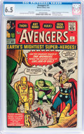 Silver Age (1956-1969):Superhero, The Avengers #1 (Marvel, 1963) CGC FN+ 6.5 Off-white to white pages....