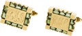 Estate Jewelry:Cufflinks, A PAIR OF TOURMALINE, GOLD CUFF LINKS. ...