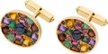 Estate Jewelry:Cufflinks, A PAIR OF MULTI-STONE, GOLD CUFF LINKS. ...