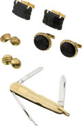 Estate Jewelry:Cufflinks, THREE PAIRS OF MULTI-STONE, GOLD CUFF LINKS AND A PEN KNIFE . ...(Total: 7 Items)