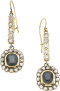 Estate Jewelry:Earrings, A PAIR OF SAPPHIRE, DIAMOND, SILVER-TOPPED GOLD EARRINGS. ...